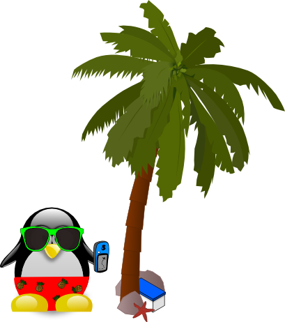 Tux and palm tree